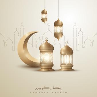 Ramadan kareem islamitische groet achtergrondontwerp met gouden halve maan en lantaarn
