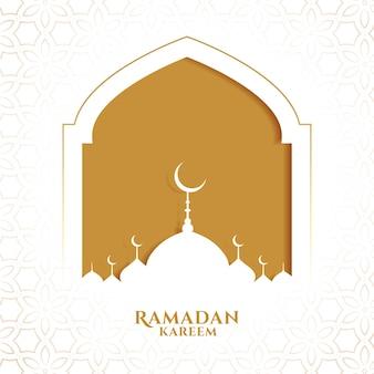 Ramadan kareem islamitische groet in papieren stijl