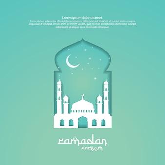 Ramadan kareem islamitische groet ontwerp met 3d