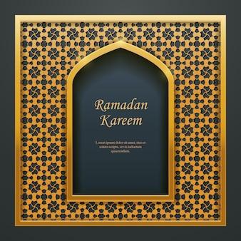 Ramadan kareem islamitische ontwerp moskee deur raam tracer