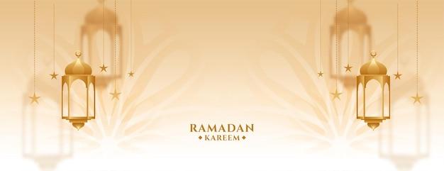 Ramadan kareem islamitische stijl gouden banner
