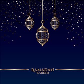 Ramadan kareem-kaart met islamitische hangende lantaarns