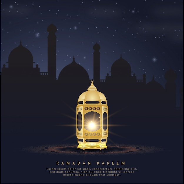 Ramadan kareem-kaart met lantaarn en moskee