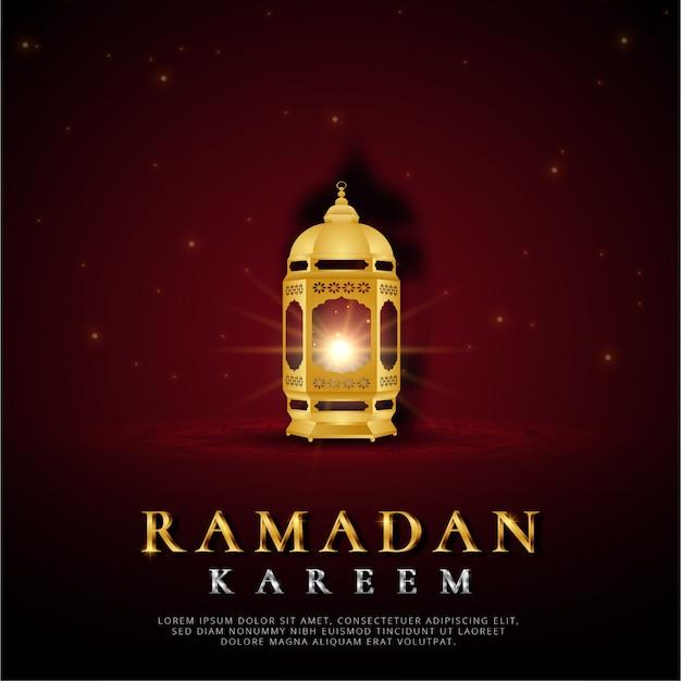 Ramadan kareem-kaart met lantaarn