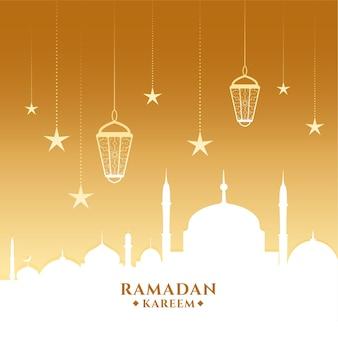 Ramadan kareem-kaart met moskee en lantaarns