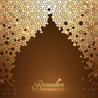 Ramadan kareem-kaartmalplaatje als achtergrond met het gouden mozaïek van marokko