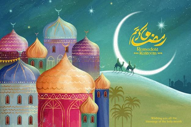 Ramadan kareem-kalligrafie betekent prettige vakantie