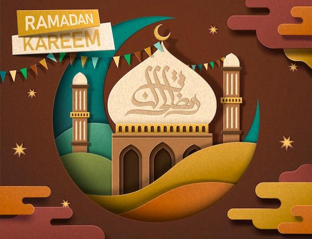 Ramadan kareem-kalligrafie in aardekleurtoon, mooie moskee en halve maan in papieren kunststijl