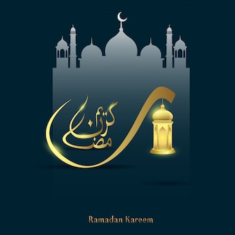 Ramadan kareem kalligrafie met moskee achtergrond