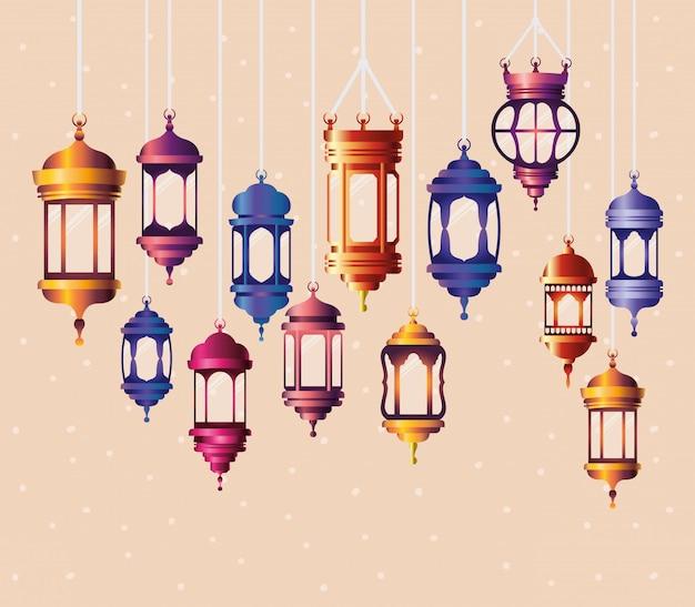 Ramadan kareem kleuren lantaarns hangen