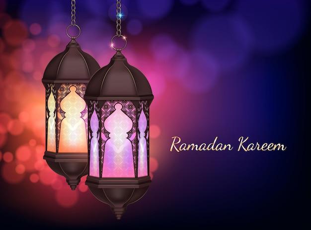 Ramadan kareem-lantaarn die op ketensamenstelling hangen