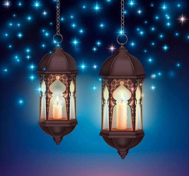 Ramadan kareem lantaarns nacht realistische compositie met stralende sterren op donkere lucht en hangende lantaarns