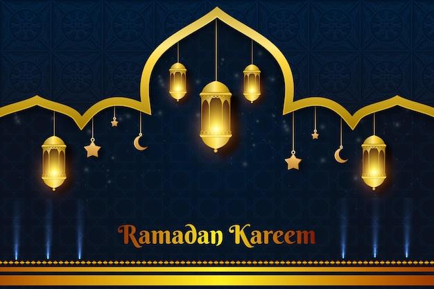 Ramadan kareem latern achtergrondkleur blauw en geel