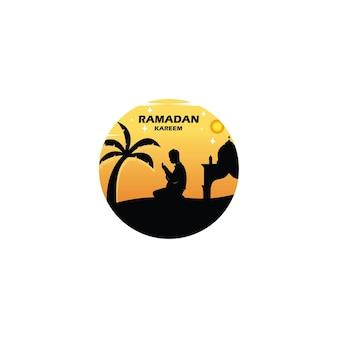 Ramadan kareem-logo. silhouet van een kind bidden