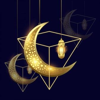 Ramadan kareem-maan en lantaarnachtergrond