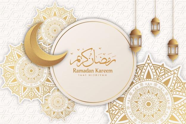 Ramadan kareem mandala-groetachtergrond islamitisch met maan en lantaarn