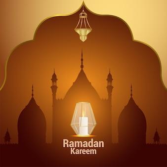 Ramadan kareem met arabische vectorlantaarn op creatieve achtergrond