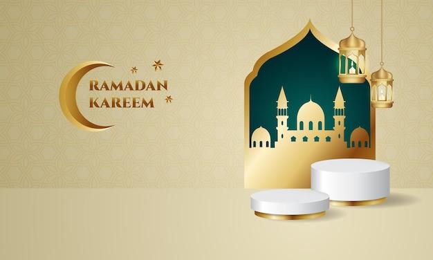 Ramadan kareem met gouden lantaarnlamp en moskeepodium