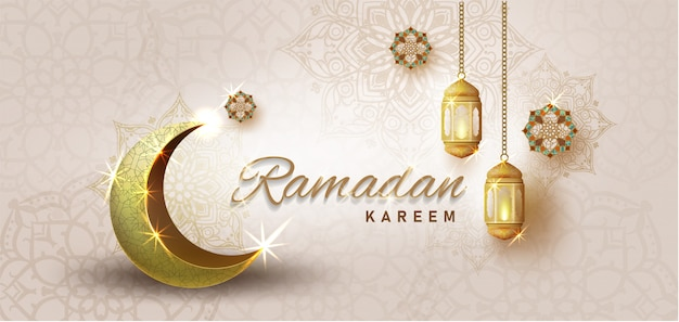 Ramadan kareem met gouden luxe crescen, sjabloon islamitische sierlijke wenskaart
