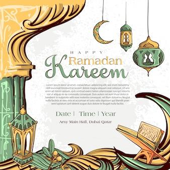 Ramadan kareem met hand getrokken islamitische illustratie sieraad op witte grunge achtergrond