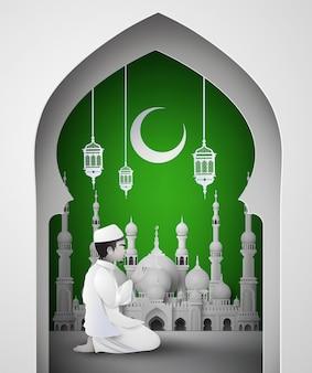 Ramadan kareem met islamitische man.