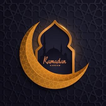 Ramadan kareem met islamitische moskee gouden maan