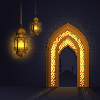 Ramadan kareem met lichte lantaarn islamitische moskee