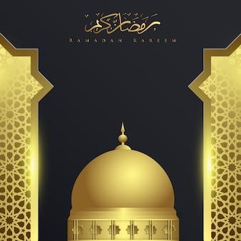 Ramadan kareem met moskee achtergrond ornament