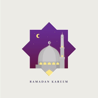 Ramadan kareem met moskee achtergrond