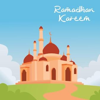 Ramadan kareem met moskee die prachtig landschap en wolkenachtergrond bouwt