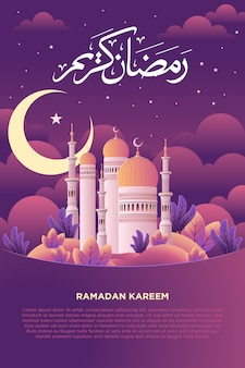 Ramadan kareem met moskee illustratie