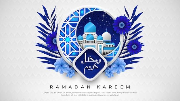 Ramadan kareem met prachtige blauwe halve maan en moskee