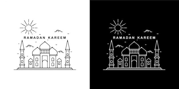Ramadan kareem monoline vintage design met 2 toren