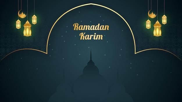 Ramadan kareem mooi achtergrond sjabloonontwerp