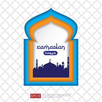 Ramadan kareem moskee deur of raam in papier gesneden en vlakke stijl ontwerp voor groet