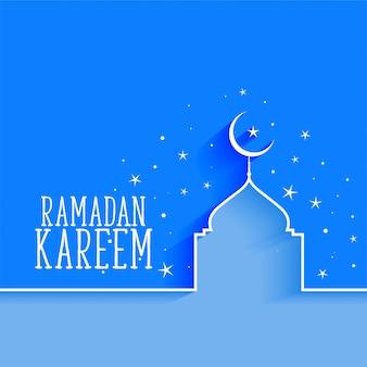 Ramadan kareem-moskee en sterachtergrond