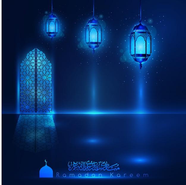 Ramadan kareem-moskee-venster met arabisch patroon en lantaarns