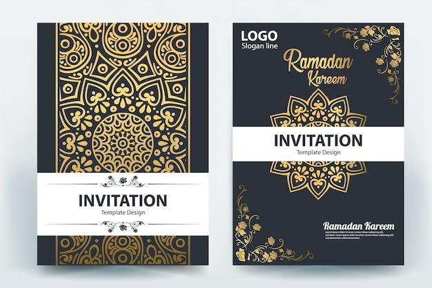 Ramadan kareem mubarak brochure sjabloon ontwerp vector