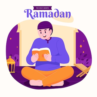 Ramadan kareem mubarak gelukkige moslimfamilie die koran het heilige boek leest