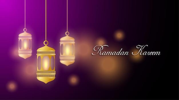 Ramadan kareem mubarak groet sjabloon voor spandoek Premium Vector