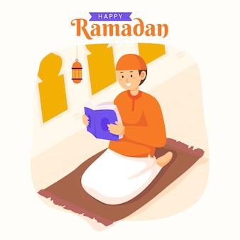 Ramadan kareem mubarak met man die koran leest tijdens het vasten,