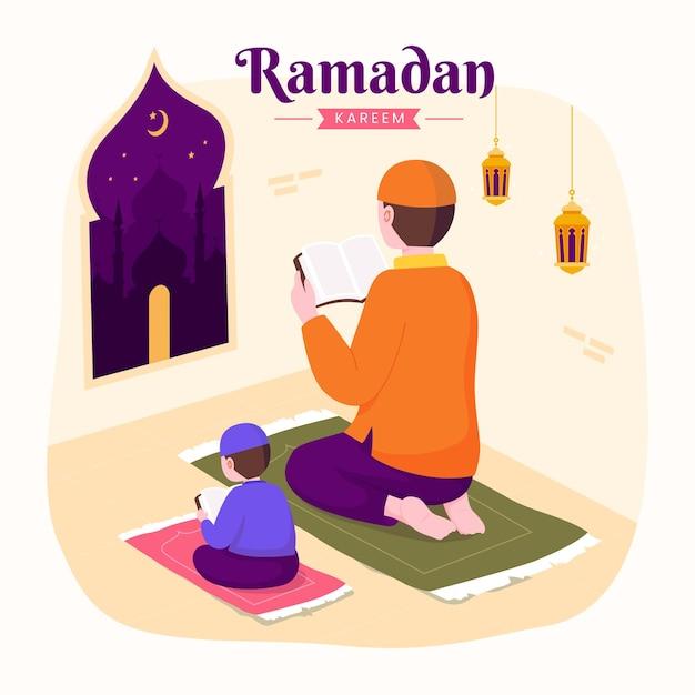 Ramadan kareem mubarak met ouders die tijdens het vasten koran aan zijn zoon onderwijzen,