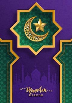 Ramadan kareem of eid mubarak-groetachtergrond islamitisch met gevormd patroon en kristallen op document kleurenachtergrond.