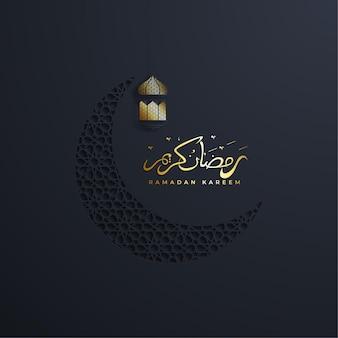 Ramadan kareem of eid mubarak wenskaart islamitisch met goud patroon op papier kleur achtergrond