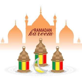 Ramadan kareem of eid mubarak-wenskaart