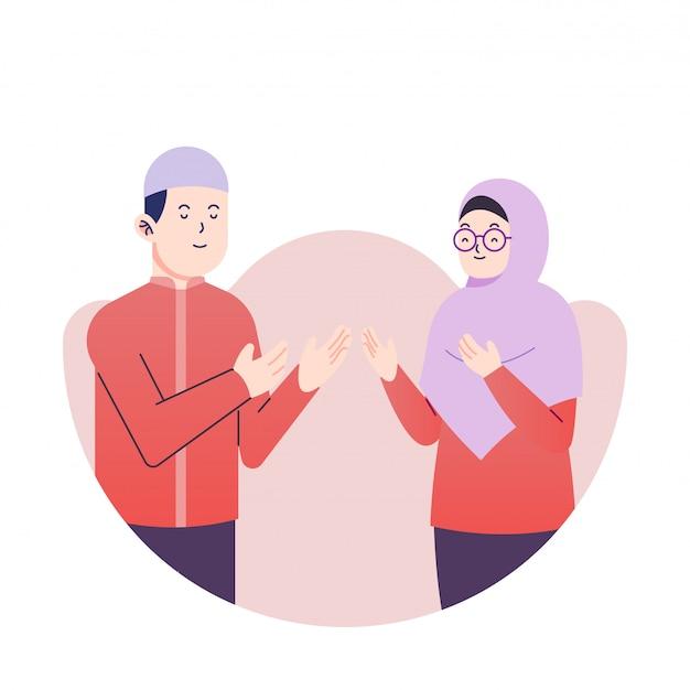 Ramadan kareem-paar die de vlakke vector van de illustratiepremie begroeten