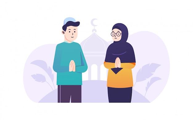 Ramadan kareem-paar die vlakke illustratie begroeten