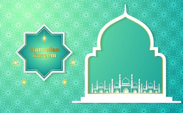 Ramadan kareem paper graphic van islamitische kunst