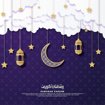 Ramadan kareem papier kunst groet