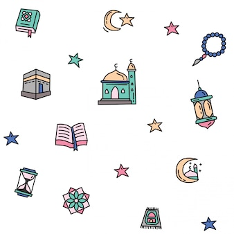 Ramadan kareem pattern of outline colored doodle